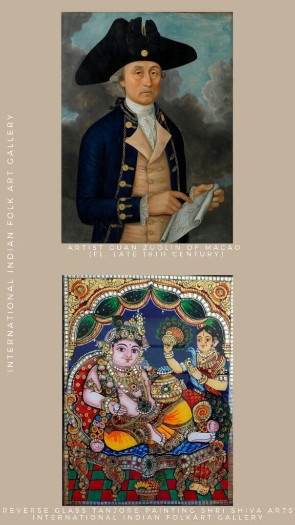 Reverse Glass Tanjore Painting and Italian Version of Glass Painting