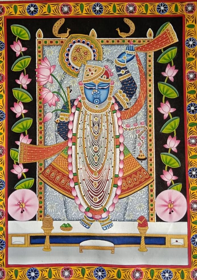 Shreenath Ji Pichwai Painting, Artist Daulat Ram - International Indian Folk Art Gallery