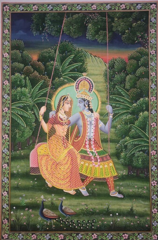 Radha Krishan Rajasthani Miniature Painting, Art & Craft Cottage - International Indian Folk Art Gallery