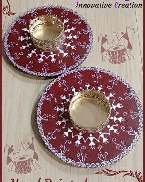 Candle holder - warli art - Indian Handicraft - Navnita - 11